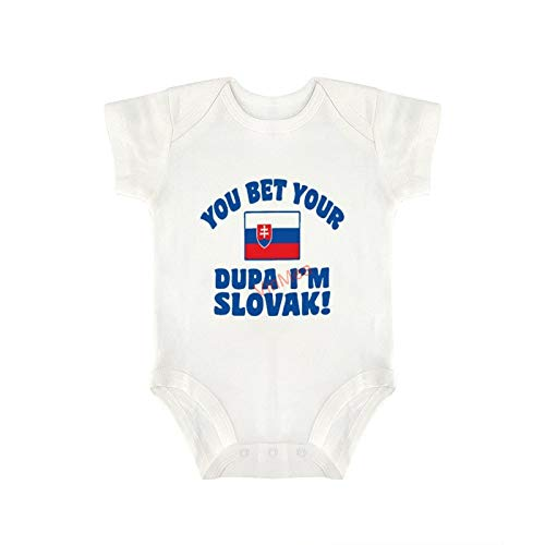 VinMea Baby Bodysuits Funny Short Sleeve Jumpsuit Clothes Outfits You Bet Your Dupa I'm Slovak for Sweet Baby Girls & Boys (9-12 Months)