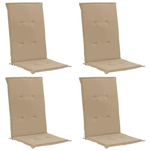 vidaXL 4X Coussins de Chaise de Jardin Coussin de Chaise Longue Coussin de Siège Terrasse Extérieur Ultra-Doux Confortable Beige 120x50x3 cm