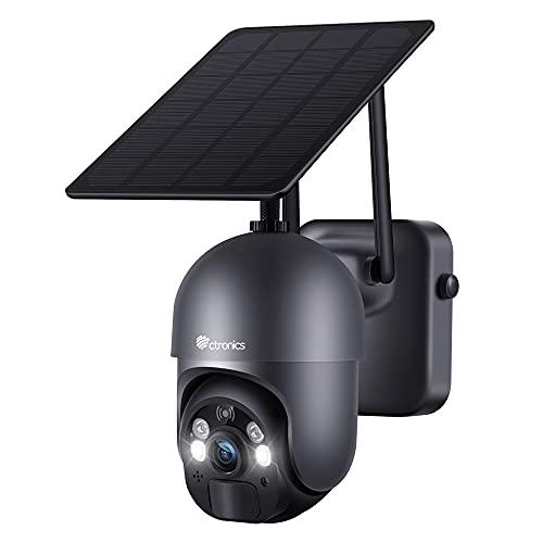 Ctronics Überwachungskamera Aussen Akku 15000mAh 355°/95° Schwenkbar mit Solarpanel, 100% Kabellos PTZ Wlan IP Kamera Outdoor, PIR und Radar Erkennung, Farbige Nachtsicht mit Spotlight, 2-Wege-Audio