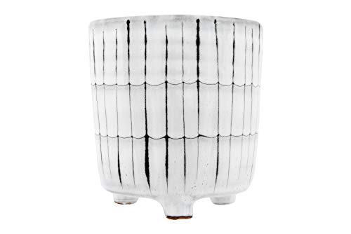 Creative Co-op White & Black Terracotta Footed Planter, White