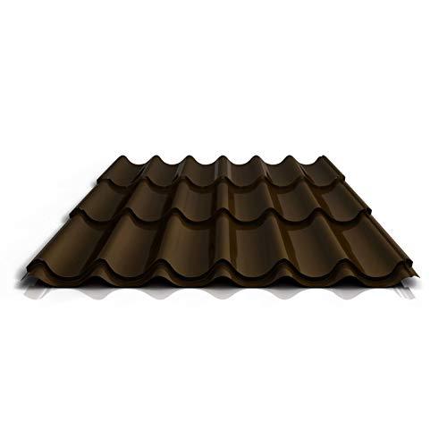 Pfannenblech   Ziegelblech   Dachziegelblech   Profil PS47/1060RT   Material Stahl   Stärke 0,50 mm   Beschichtung 35 µm   Farbe Dunkelbraun