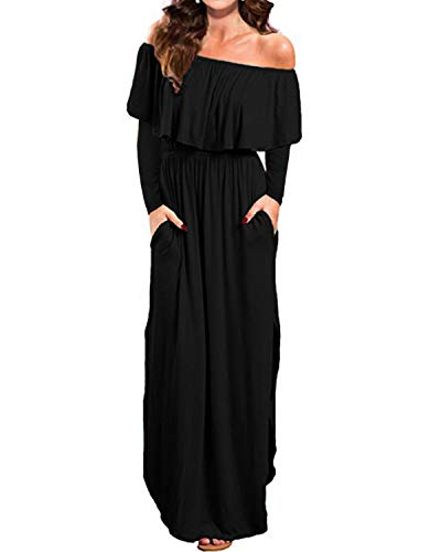 Kidsform Damen Maxikleid Off Shoulder Langarm Bandeau Langes Kleid Bohemia Kleider Casual Cocktail Abendkleid Schwarz XL