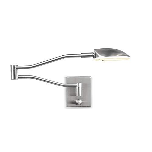 ZMH LED Bettleuchte Leseleuchte Flexleuchte Nachttischlampe Leselampe mit Dimmer 9W 3000K Warmweiß 360° Bettlampe Flexleuchte Schlafzimmer Wohnzimmer innen Beleuchtung (Silber)