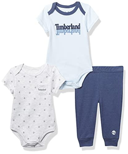 Timberland Baby Boys' 3 Pieces Bodysuit Pants Set, Bleach Gray Heather/Ventana Blue/Indigo, 3-6 Months