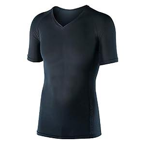 おたふく手袋 ボディタフネス 冷感 吸汗 速乾 パワーストレッチ 半袖 Vネックシャツ メンズ JW-622 ブラック L