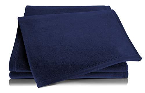 biederlack® Flauschige Kuschel-Decke Pure Cotton I Made in Germany I Öko-Tex Standard 100 I Wohn-Decke aus 100% Baumwolle in dunkelblau I Couch-Decke 150x200 cm | nachhaltig produziert