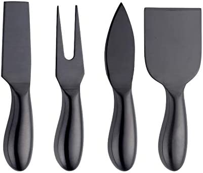 4 Piece Cheese Knife Set Black Stainless Steel Cheese Shaver Spreader Knives Fork Butter Cutter product image