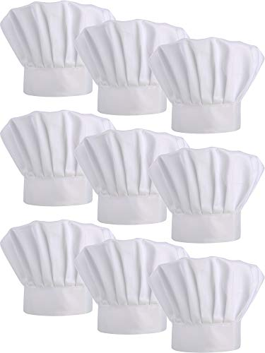9 Pieces Chef Hats Adjustable Cooking Hat Elastic Kitchen Baker Caps for Adults (White)