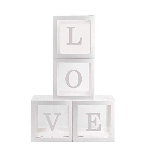 Reuvv 4Pcs Palloncino Scatole Quadrato Trasparente Palloncino Scatole Baby Shower Battesimo Compleanno Festa Decorazione Palloncino Design - Love