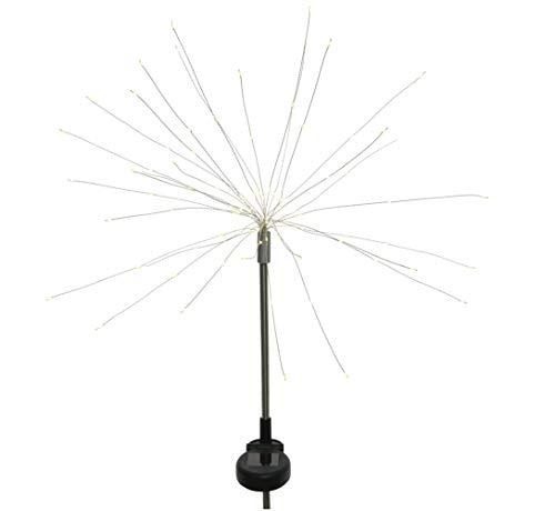 LED Solar Firework Gartenstecker Hänger 90 LEDs Gartendeko silber warmweiß IP44 (Stecker)