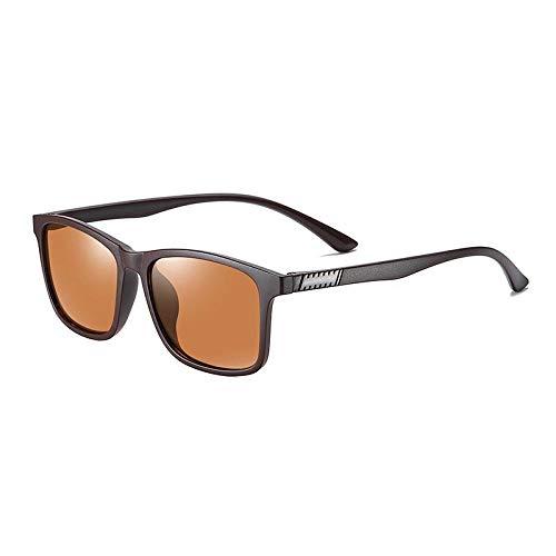 Gafas De Sol Hombre Mujeres Ciclismo Gafas De Sol Polarizadas para Hombre A La Moda, Montura De Gafas Cuadradas, Espejo Clásico, Gafas De Sol De Conducción Vintage para Mujer, Marrón