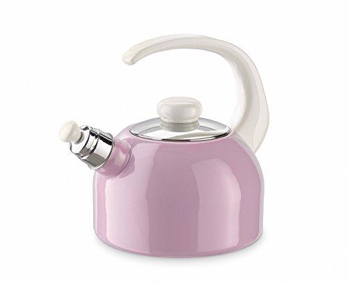 Riess Kelomat Wasserkells Flötenkessel 2 Liter Rosa Emaille für alle Herdarten geeigent