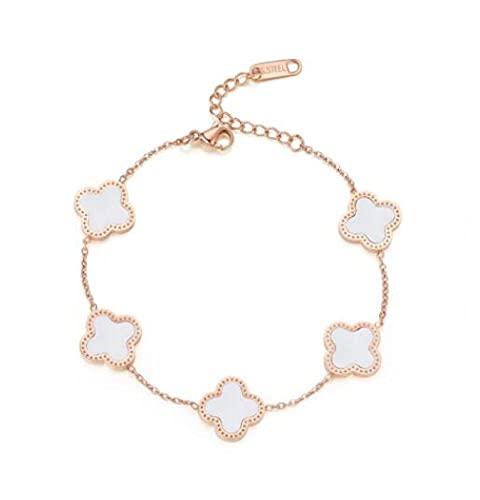 MENGHUA Moda de cuatro hojas trébol de cinco flores pulsera de trébol femenino pavo real blanco Fritillary 18k oro rosa pulsera blanco blanco