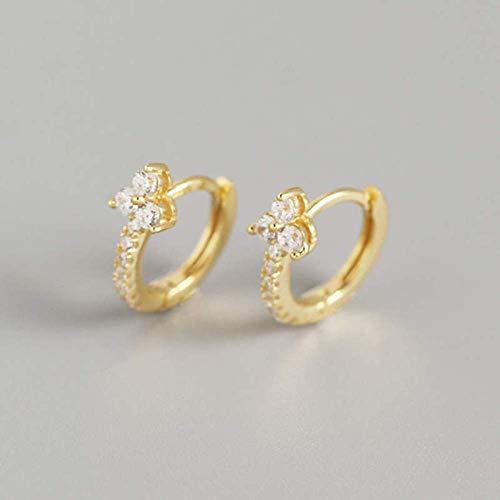 Generic Brands Pendientes de aro de plata de ley 925 con circonita para mujer, para fiestas, accesorios de joyería fina, oro