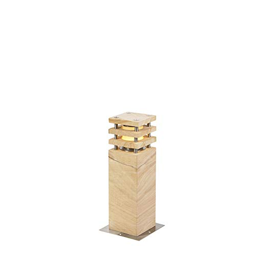 QAZQA Moderne staande buitenlamp zandsteen 40 cm - Grumpy Steen/Beton/Roestvrij staal (RVS) Rechthoekig Geschikt voor LED Max. 1 x 13 Watt