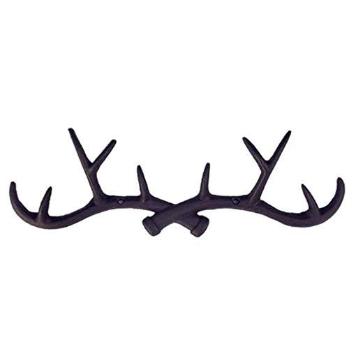 SHYPT Cast Iron Vintage Deer Antler Wall Hooks Home Decorative Hook Rack Wall-mounted Key Hanger Wall Hanger for Key Coat Towel