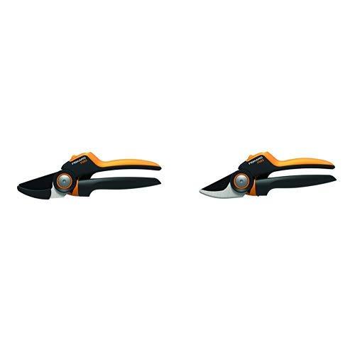 Fiskars PowerGear X Amboss-Gartenschere mit Rollgriff für trockene Zweige und Äste, Länge: 22,5 cm, PX93 & Bypass-Gartenschere mit Rollgriff für frische Äste und Zweige, Länge 21,5 cm, PX92