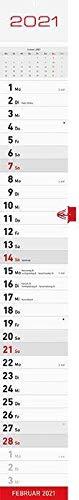 Preisvergleich Produktbild Streifenkalender 2021 11, 3x83, 8cm 1M / 1S rot 941-0011