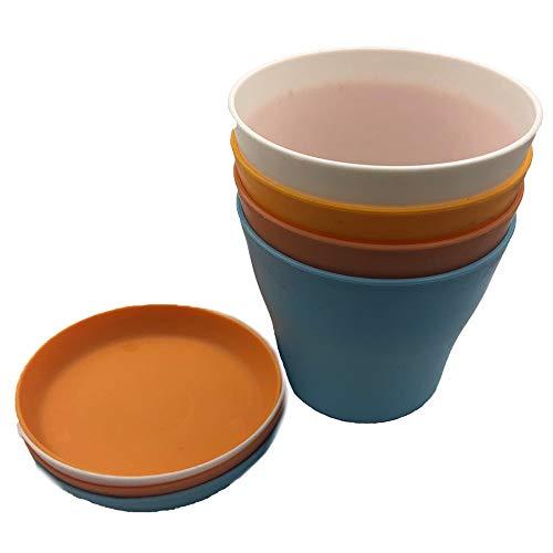 henan 4 Pezzi Vasi Colorati per Piante in Plastica, Vasi da Fiori Colorati in Plastica, Vasi da Fiori per Interni con Pallet, per Arredo Casa, Giardinaggio Domestico, Orto Balcone