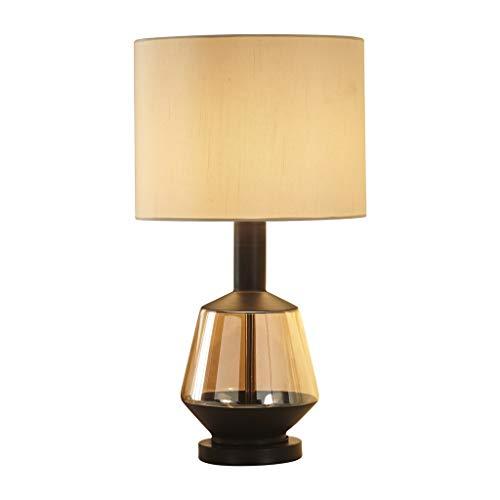 Lampara Mesa Lámpara de Mesa de cabecera, lámpara de Mesa Simple Creativa, Pantalla Beige, Cuerpo de lámpara de Vidrio soplado Artificial, Sala de Estar/Dormitorio Lampara LED (Color : A)
