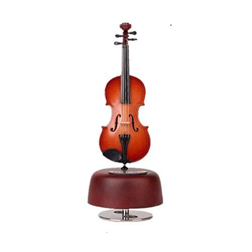 SHYPT 1 Caja de música de violín roja giratoria Caja de música de joyería de Instrumentos de Escritorio