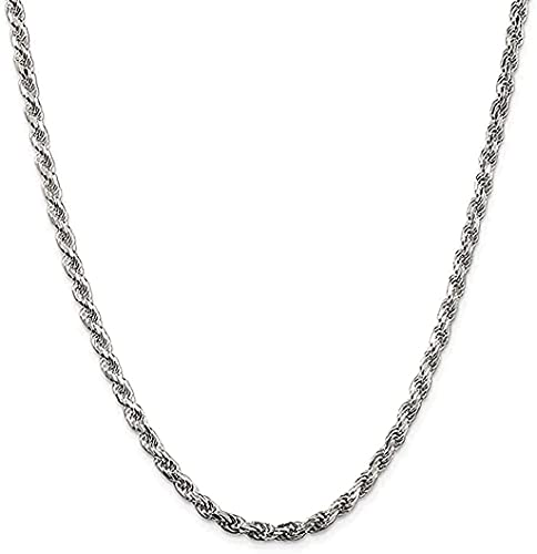 Savlano 925 Sterling Silver 3mm Solid Italian Rope Diamond Cut Twist Link Chain Necklace With Gift Box For Men & Women - Made in Italy (22, 3mm)