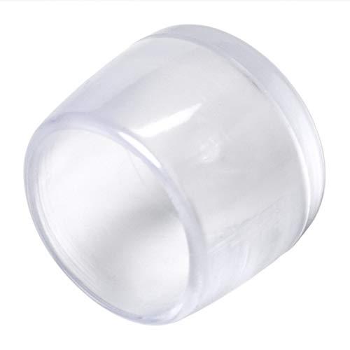 Adsamm® | 16 x Stuhlbeinkappen | Ø 16 mm | Transparent | rund | Möbelgleiter für Stahlrohrstühle