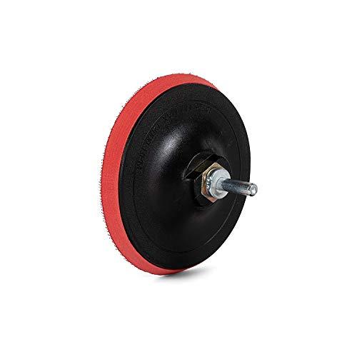 1 pieza/plato de lija/Ø 125 mm/soporte M14/rojo, incluye mandril de sujeción/para taladro/disco de papel de lija.