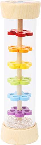 small foot 11567 Regenmacher, aus Holz mit Kugeln in Glasoptik, Rythmusinstrument und Rassel für Babys und Kleinkinder
