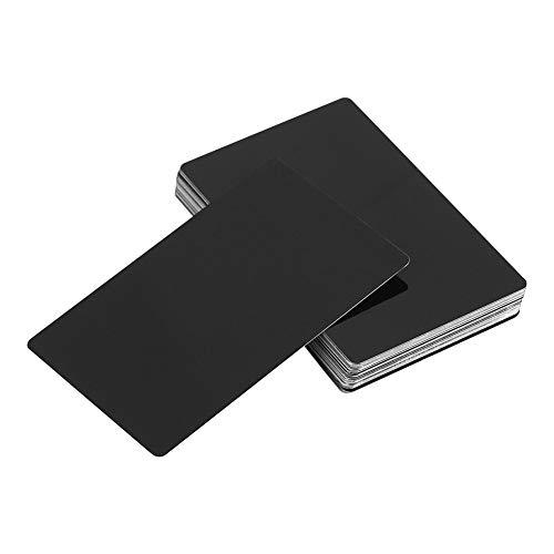 50 Stücke Metall Visitenkarten, Beeindruckende Rohlinge Gravierte Metall Visitenkarten, Dicke for Kunden DIY Geschenkkarten (Farbe: Schwarz)