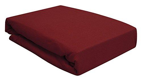 Arle-Living Spannbettlaken für Wasserbett/Boxspring Bett/Übergrößen 180x200-200x220 cm Bordeaux (Bordeaux/weinrot/Wine red)