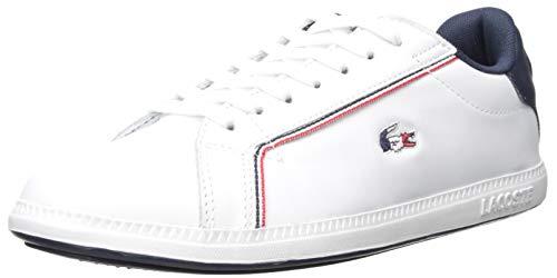 Lacoste Women's Graduate Sneaker, White/Navy/red, 8 Medium US