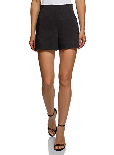 oodji Ultra Mujer Pantalones Cortos de Forma de Trapecio con Cremallera en el Lateral, Negro, ES 34 / XXS