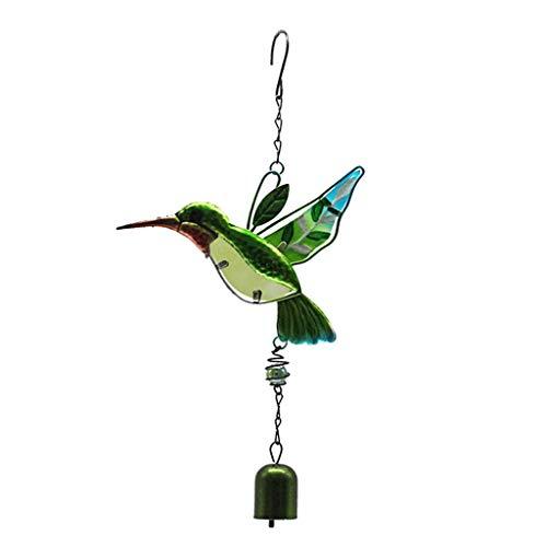 LOVIVER Windspiel Klangspiel Wind Spiel Welcome Vogel Handarbeit Glocke -Balkon Garten Fengshui Deko - Grüner Kolibri mit Glocke