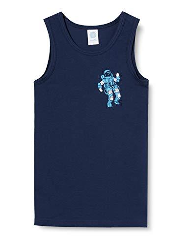 Sanetta Jungen Nordic Blue Dunkelblaues Unterhemd coolem Astronauten Artwork auf der Brust, blau, 140