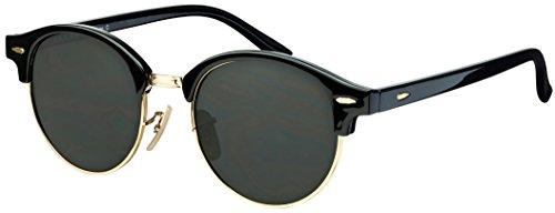 Sonnenbrille Halbrand La Optica UV 400 Unisex Damen Herren Rund Round - Vintage Retro Schwarz Gold (Gläser: Grün Klassisch)