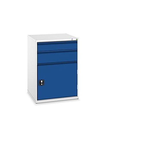 bott verso+ Schubladenschrank mit 2 Schubladen, 1 Tür und Zentralschloss, 650 x 650 x 900 mm, 1 Stück, 40034027.11