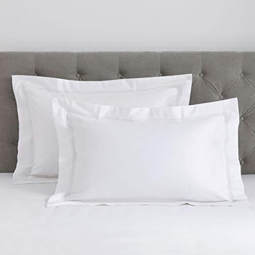 DUSK   Pair Of Kensington Oxford Pillowcases   800 Thread Count   100% Egyptian Cotton   Luxurious Premium Hotel Quality Pillowcase Set With Double Row Of Stitched Cord   Super King   White