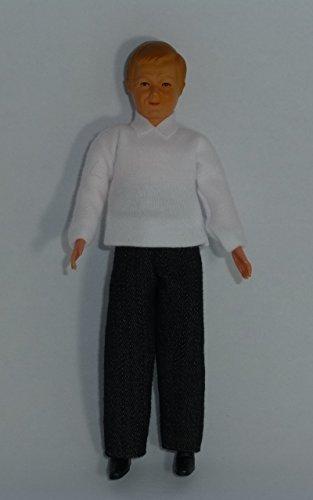Caco 20176200 Homme De Poupée 14 cm avec Jeans et Blanc Chemise Poupée Flexible 1:12 Maison de poupée