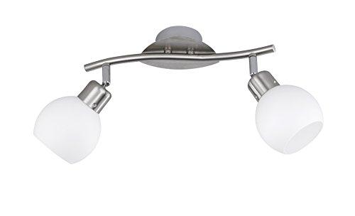Trio Leuchten LED-Balken in Nickel inklusiv 2x E14, 4 Watt LED, Breite 30 cm, Glas opal matt weiß 824810207