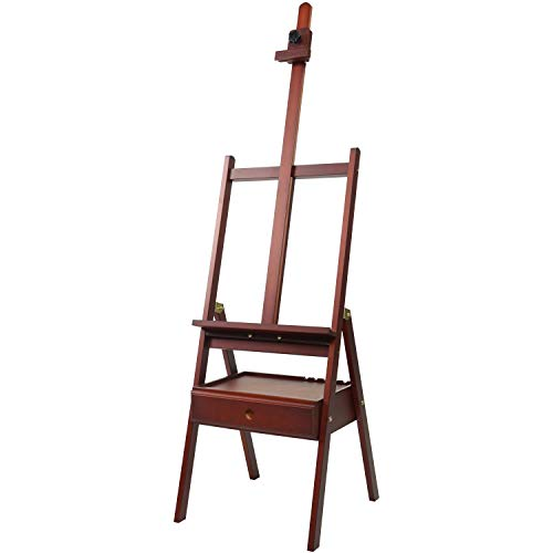 """MEEDEN Walnut Studio H-Frame Easel with Art Supply Storage Drawer - Adjustable (60""""~75"""") Wood Easel Stand for Artists, Adults and Students, Holds Canvas Art up to 35"""""""