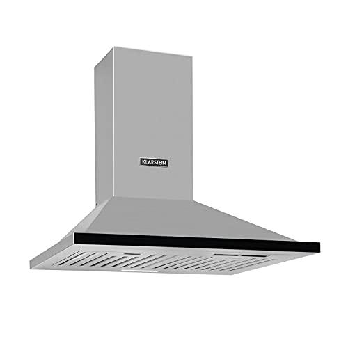 Klarstein Galina Americana – extractor de humos, 60 cm, clase B, 311 m³/h, regulador deslizable, iluminación LED, filtro de acero inoxidable, ventilación o extracción, extractor de pared, negro