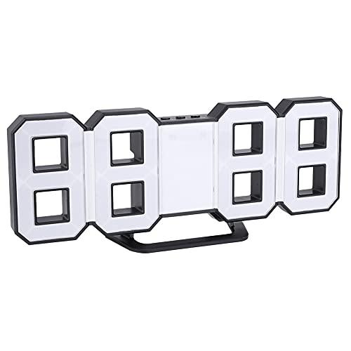Socobeta Reloj De Mesa LED con Alimentación USB Grande para El Hogar(Blanco)