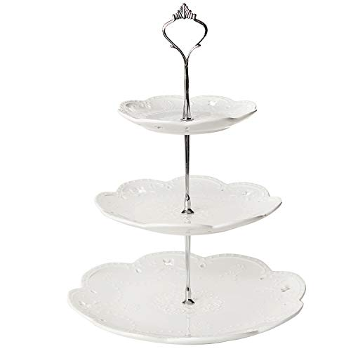 MyGift Decorative 3 Tier White Ceramic Tea Party Serving Platter Cupcake Dessert Stand