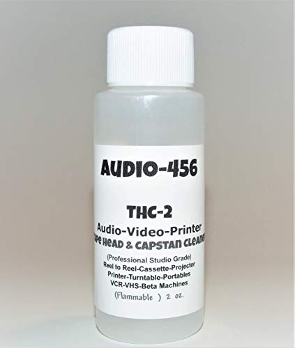 (1) Audio 456 (2 oz) THC-2 Pro Audio/Video Tape Head & Capstan Cleaner for Reel to Reel + Cassette Decks +Lasers+Tape Echo + Projectors + Portable & More.(formally SR-Audio) DOES NOT CONTAIN ACETONE