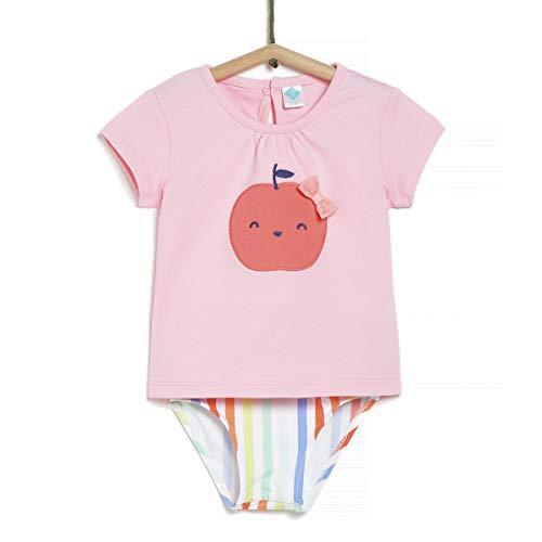 TEX - Conjunto Camiseta y Culetín de Baño para Bebé, Rosa Claro, 18 Meses