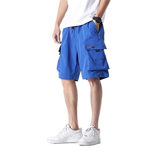 USTZFTBCL Summer Cargo Shorts Men Army Military Trend Elastic Waist Men's Street Knee Length Casual Shorts Blue 5XL