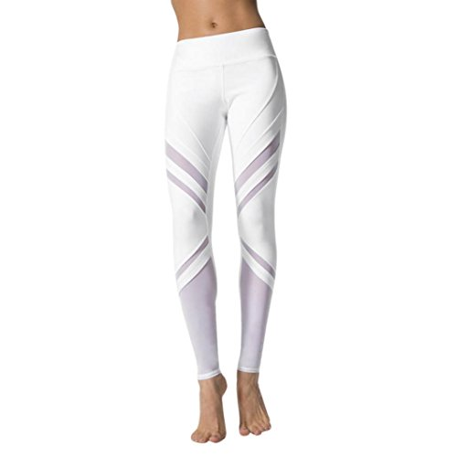 TUDUZ Yoga Hosen Damen, Frauen Hohe Taille Sport Mesh Weiß Pants Yoga Fitness Leggings Sportlichen Hose (Weiß, L)