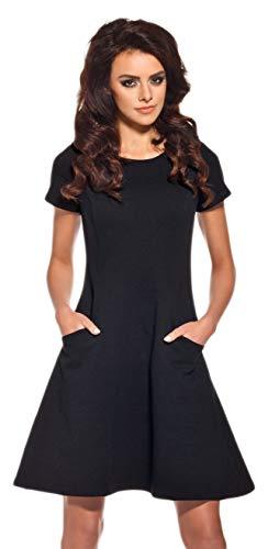 Lemoniade Elegantes Sommerkleid mit raffinierten Schnitten und in vielen Farben Made in EU (XL (40/42), Modell 1 Schwarz)