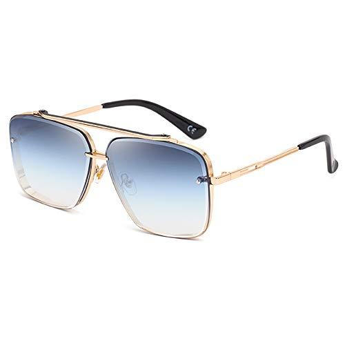 SHEEN KELLY Gafas de sol de metal retro Gafas de sol cuadradas sin montura vintage Moda para hombres Protección 100% UV402 para exteriores